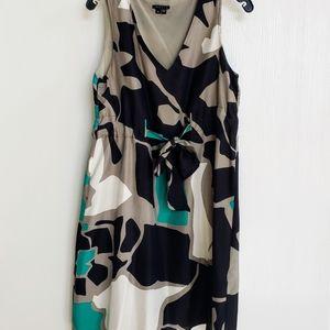 Theory Silk V Neck Tie Dress